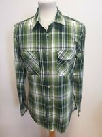 G384 MENS BURTON GREEN WHITE CHECK L/SLEEVE COTTON SLIM FIT SHIRT UK M EU 48