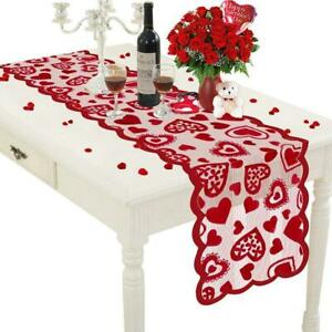Valentine Day Table Runner Red Heart Lace Tablecloth Dresser Scarf Romantic 2021