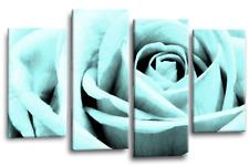 Floral Duck Egg Rose Wall Art Grey Split Canvas Flower Picture