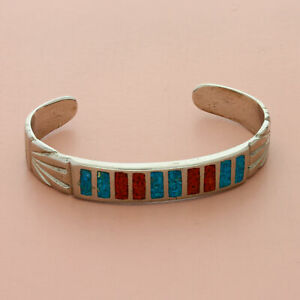 southwestern silver plated vintage turquoise & coral cuff bracelet size 6in