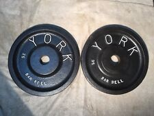Vintage York Olympic Barbell Weights  2 X 35