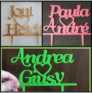 Personalized Acrylic Wedding Cake Topper, Groom & Bride Names, Engagement Party