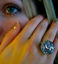 """HUGE! Kate Spade NY """"Crystal Confection"""" 5 6 7 Gold MIRROR CLEAR Stone Ring"""