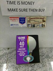 """TEIBER 40G25WH  40W G25 Globe  3"""" 130V Medium BRASS Base Light Bulb, White(#19A"""