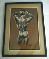 Original Male Nude Oil Painting Matted Glass Framed and Signed - Free Shipping