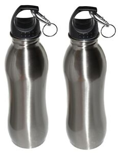 2 Pack - 25 oz - Wide Mouth - Stainless Steel Sports Water Bottle - Silver