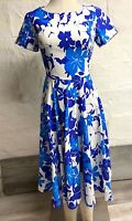 Gown Town Women's Fit & Flare Midi Dress 1950s Floral Blue Stretch Cap Sleeve XS