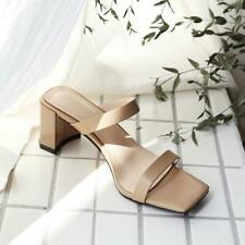 Women Square Toe Mule Shoes High Heels Narrow Bands Leather Slippers Sandals New