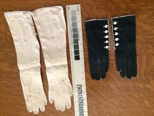 Vintage Leather Gloves 2 Pair Black/white Buttons