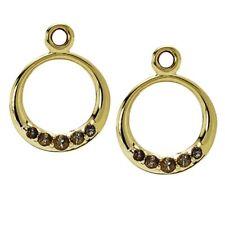 Pandora 14K Compose Earrings Smoky Quartz Retired Rare