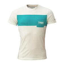 Tommy Hilfiger, Jeans pour Homme T-Shirt, Blanc, Taille L, Avec Sacoche Poitrine