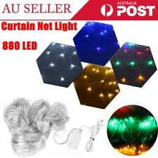 4x6m 880LED Fairy Net Light Mesh Curtain Xmas Party Wedding Decor AU Plug