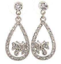 Swarovski Elements Crystal Butterfly Loop Pierced Earrings Rhodium Plated 7126y
