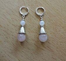 Unusual  ROSE QUARTZ 'A' medium drop  EAR RINGS St Silver Gift wrapped