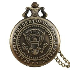 Antique Donald Trump Quartz Pocket Watches President Seal with Chain Full Hunter