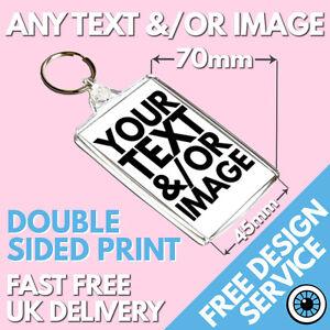 Custom 70mm x 45mm Large Keyring• Bespoke Personalised Logo • Photo Keyrings