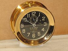 "CHELSEA  ANTIQUE U.S.NAVY SHIPS CLOCK~DECK CLOCK #2~4"" DIAL~1916~WW1~RED BRASS"