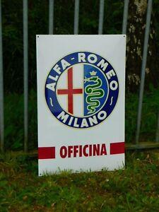 ALFA ROMEO Automobile Dealer Porcelain Enamel Vintage Garage Service XXL Sign