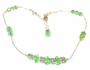 Fancy PERIDOT GREEN CRYSTAL ANKLET Handcrafted Sterling Silver Swarovski Element