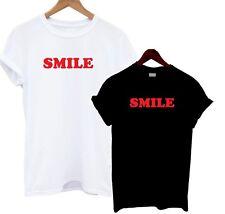 Smile T Shirt Black White Slogan Tee Happy Vibes Statement Fashion Laugh