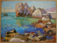 Russian Ukrainian Oil Painting Impressionism Seascape rock summer day sea