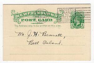 Newfoundland - St Johns 1927 Parker & Monroe - Stationery Postcard - Bell Island