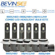 BEVINSEE 9005 + 9006 + H11 LED Headlight Fog Light White Bulbs 1:1 Halogen Size