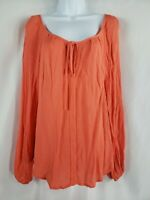 Stoosh Keyhole Long Sleeve Coral Color Top Blouse Size Medium Women's