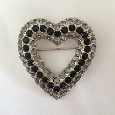 Brooch & Pendant Charm Pin Br1123 New Heart European Style Black Clear Crystals