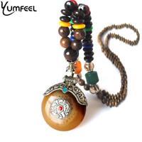 Ethnic Tibetan Silver Pendant Necklace Handmade Nepal Wood Beaded Necklace Gifts