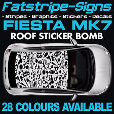 FORD FIESTA MK7 GRAPHICS STICKER BOMB ROOF DECALS CAR VINYL 1.2 1.6 2.0 ZETEC ST