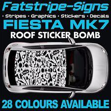 FORD FIESTA MK7 GRAPHICS STICKER BOMB ROOF DECALS CAR VINYL 1.2 1.6 2.0 ZETEC ST