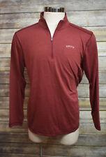 Orvis Red Long Sleeve Half Zip Shirt Cotton Blend Large