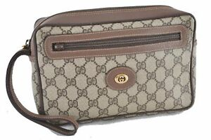 Authentic GUCCI Clutch Bag GG PVC Leather Brown D4469