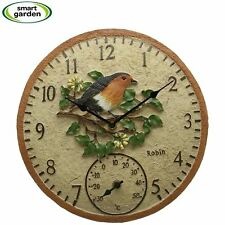 "Robin Bird Wall Clock & Thermometer Outdoor Garden Clock 12"" Weather Resistant"