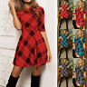 Xmas Sexy Womens Casual Plaid Evening Party Cocktail Swing Short Mini Dress USA