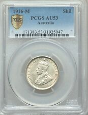 AUSTRALIA 1916-M 1 SHILLING SILVER COIN, ALMOST UNCIRCULATED CERTIFIED PCGS AU53