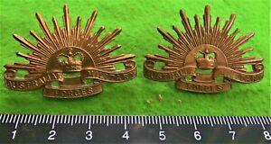 A pair of 1953-1991 Australian Military Forces collar badges. Swann & Hudson.