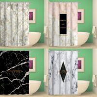 Waterproof Bathroom Shower Curtain Marble Fabric Bath Curtain With Hooks Panel