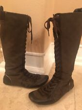 Gucci Leather/Canvas Logo Lace Up Knee High Boots Eu Size 36/ US 6-6,5