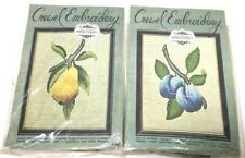 2 Elsa Williams Crewel Embroidery Kits Kc329 & 332 Blue Plum Pear Fruits 70's