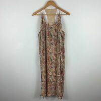 Hoss Intropia Dress Womens 38 AU 8-10 Beige Floral Sleeveless Scoop Neck Boho