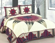COUNTRY STARBURST 3pc Full Queen QUILT SET : RED GREEN IVORY FLORAL CABIN STAR