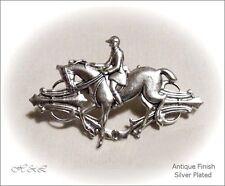 Equestrian Hunt Horse Rider Retro Brooch Costume Jewellery Antique Silver SP Pin