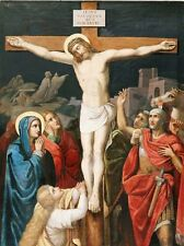 Stations of the Cross, Jesus, Crucifixion, reproduction of 1850s work on canvas.