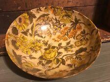 Vintage Mid Century Modern Fiberglass Serving Bowl Orange Gold Floral
