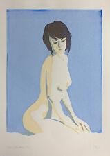 Nude Girl Screen print hand made original design woman lady female kneeling