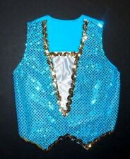 NWOT Dance Turquoise Sequin Front Pullover Lycra Back Vest Unisex Medium Child