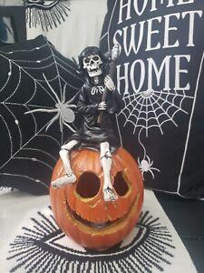 Tkmaxx Halloween Grim Reaper sat qn pumpkin Vintage Style Stunning Rare