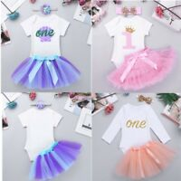 Baby Girls 1st Birthday Outfit Dress Romper Tutu Skirt Headband Summer Costume